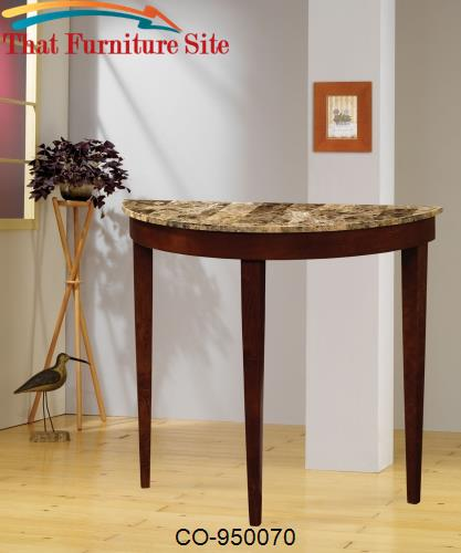 Accent Tables Cherry Finish Entry Table with Faux Marble Top by Coaste