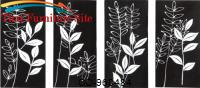 Wall Art Black and White Fronds 4 piece Hand Painted by Coaster Furniture
