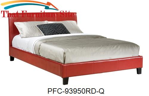 Red Bicast Queen Platform Bed by Pfc Furniture Industries  | Austin