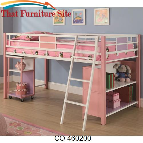 Sadie Twin Loft Bed With Storage Shelves Slide Out Desk By Coaster F