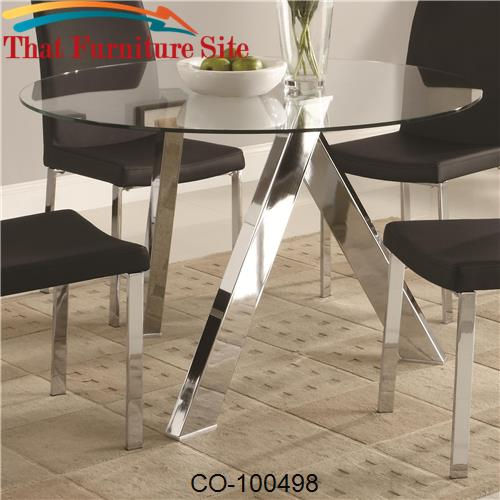 Vance Contemporary Glass Top Dining Table With Chrome Base