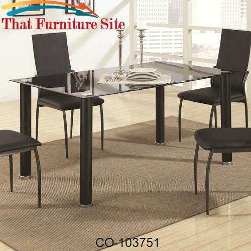 103750 Contemporary Metal Dining Table With Glass Top By