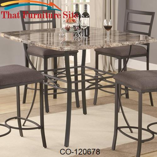 Counter Height Metal Table Base : Ashford Counter Height Pub Table with Faux Marble Top and Metal Base b