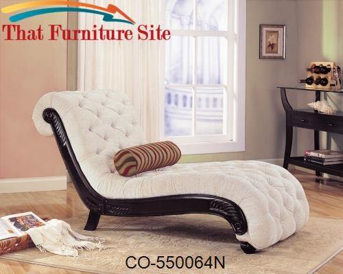 Accent seating traditional chaise with button tufting and for Accent traditional chaise by coaster