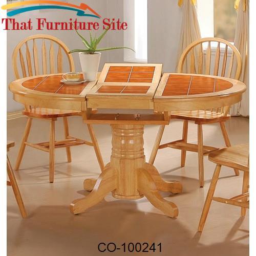Damen Oval Tile Top Pedestal Table With Leaf
