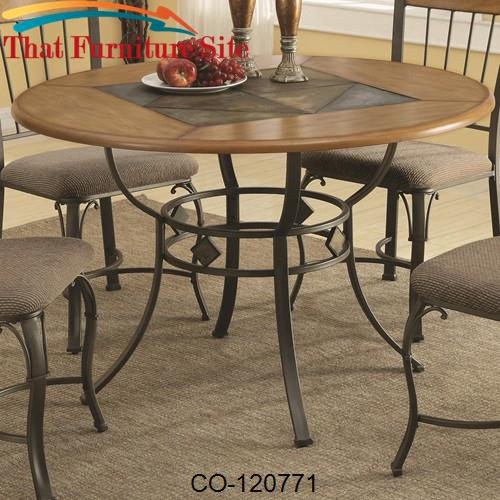 1207 Round Dining Table With Metal Legs And Wood Top Inlaid A Slate Look Center